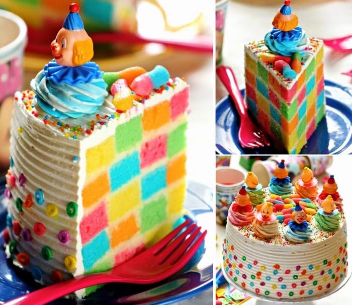 idée gateau anniversaire damier en plusieurs couleurs décoré de petits clown et de bonbons en sucre colorés