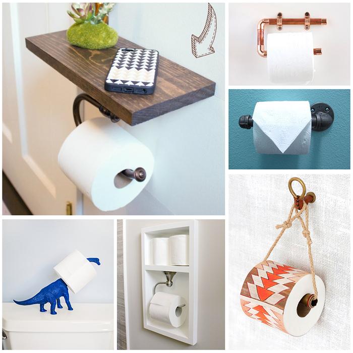 idées originales pour une deco sdb d esprit récup, détourner des objets du quotidien en porte-papier toilettes originaux