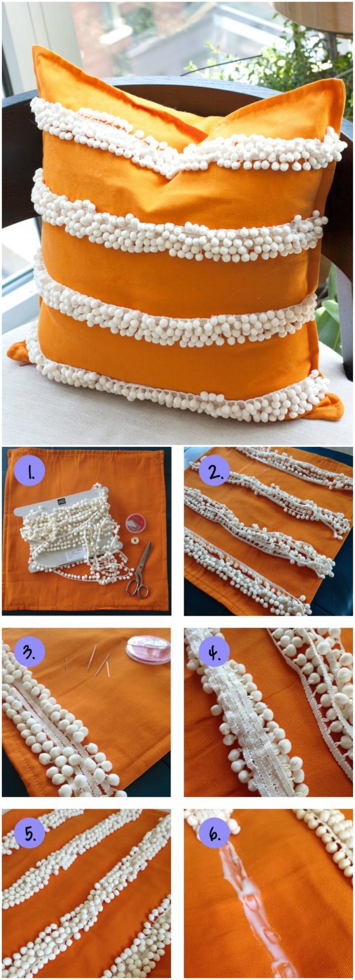 comment customiser des coussins pour leur donner un air bohème chic, deco chambre bohème avec pompons