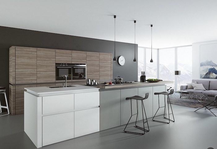 gris anthracite pour quelle couleur pour les murs d une cuisine, ilot central avec évier blanc et gris