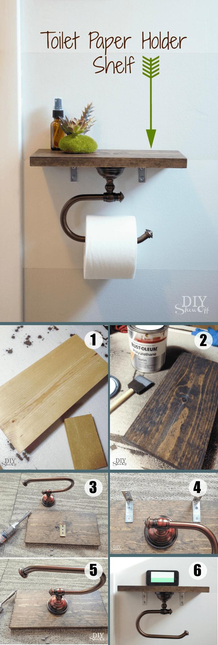 une deco sdb d'esprit récup et industriel à réaliser soi-même, un porte-papier toilette industrielle réalisé en bois et vieux tuyau
