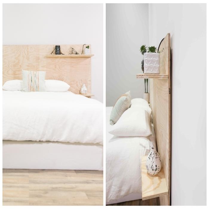 encore une idée originale pour une deco de chambre adulte avec une planche de contreplaqué transformée en tête de lit original