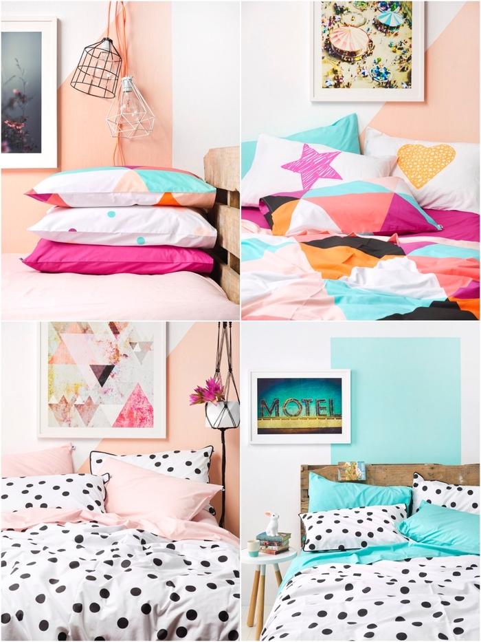 on mise sur un linge de lit aux imprimés et aux couleurs vitaminées pour un relooking de la deco de chambre adulte lumineuse