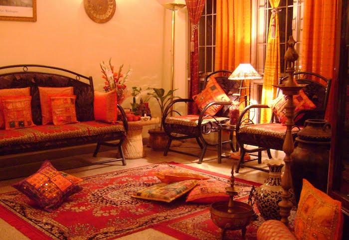 décoration de salon oriental, tapis ethnique maison du monde arabe, déco intérieur exotique indienne