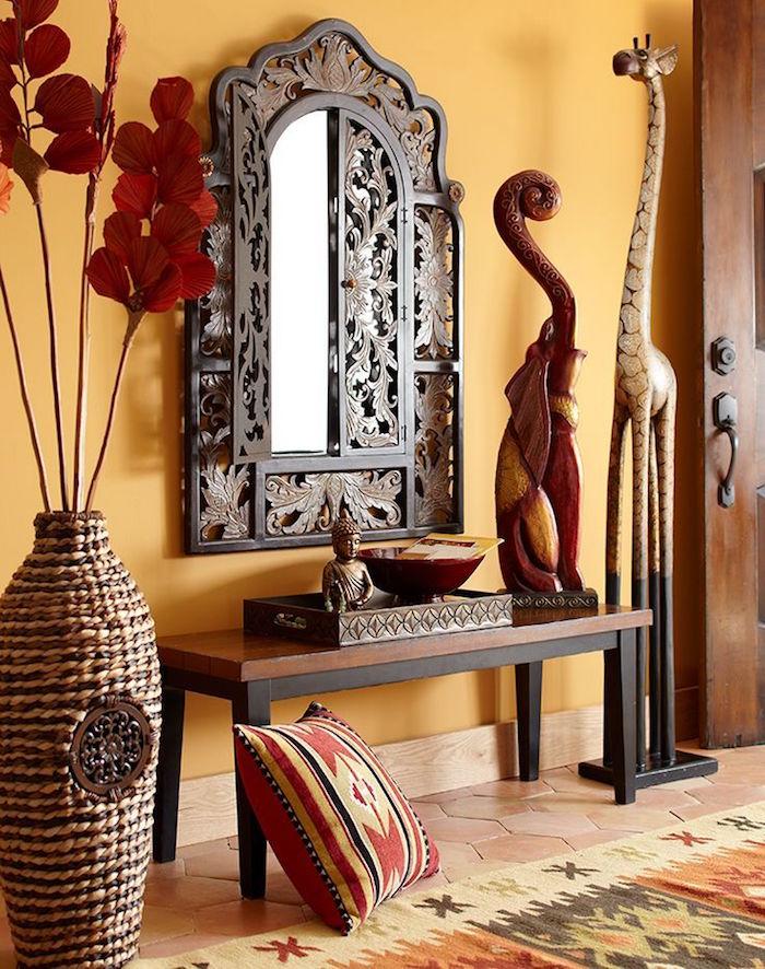 objets deco exotique africains indiens, statue elephant en bois pour decoration ethnique