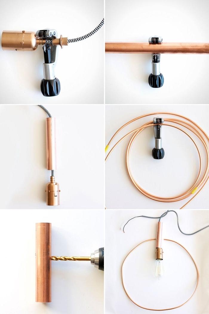 tuto suspension design en cercle avec une ampoule dénudée pour donner un accent chic et contemporain à la deco chambre parentale
