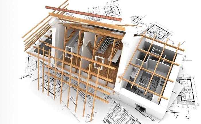 modèle de chantier de maison deux étages, construction de domicile aux matériaux bruts et naturels