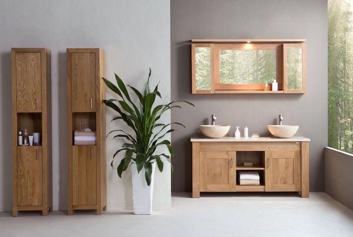 recouvrir carrelage mural avec peinture grise finition béton, exemple mobilier pour salle de bain zen