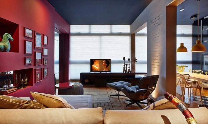 salle à manger et séjour contemporain, meuble de tv bas, sofa couleur beige