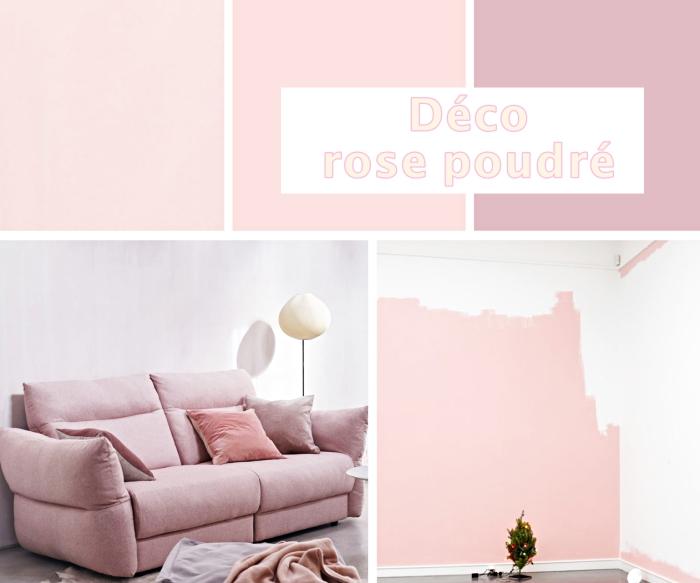 exemple de peinture rose poudré en nuances claires et plus foncées, intérieur rose pale avec canapé rose poudré et coussins en velours