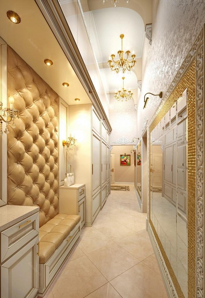 deco hall entrée à design luxe avec meubles en blanc et beige, décoration stylée aux finitions dorées et argentées