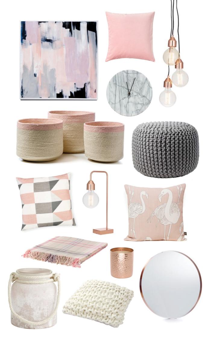 objets pour la déco d'une pièce en rose gold et gris, modèles de coussins à design tropical en rose poudré et gris