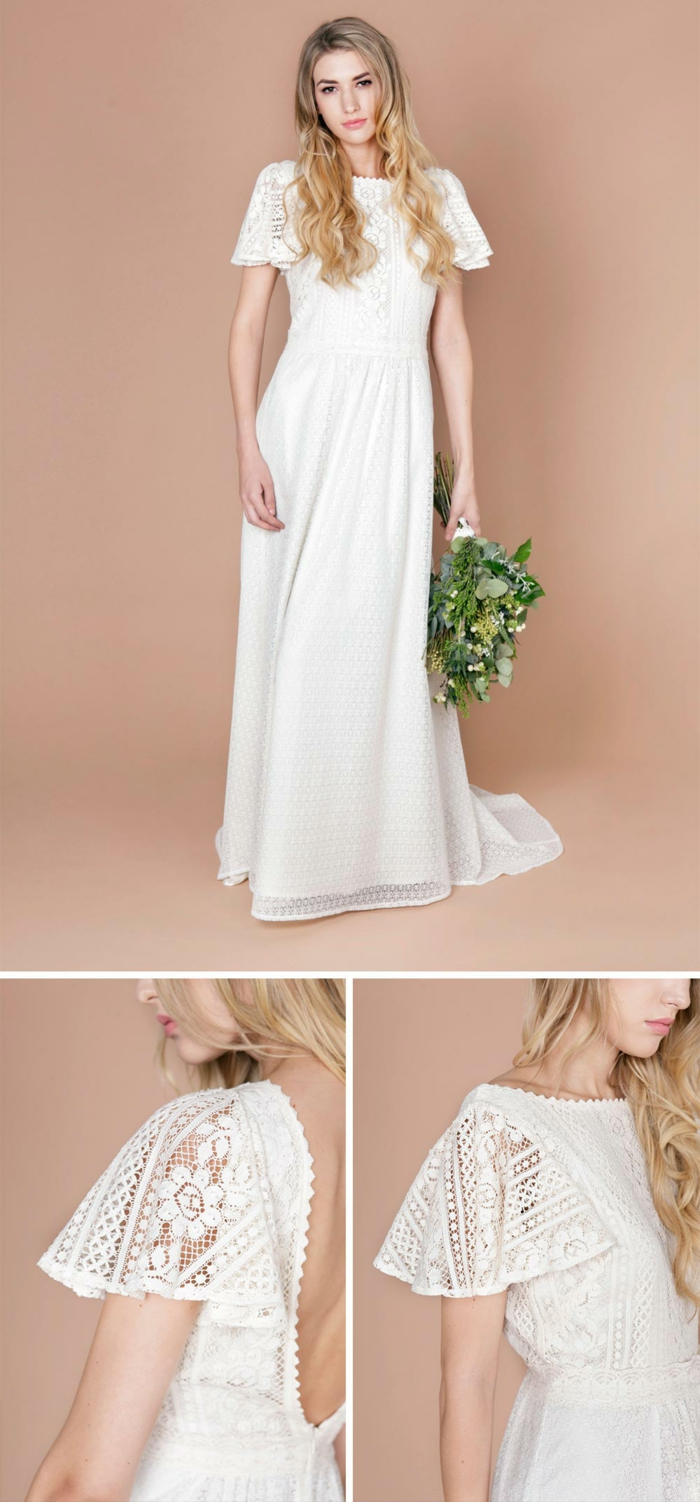 robe de mariage style boho chic, manches courtes fluides, cheveux looses, grand bouquet forestier