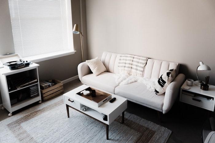 Blanche déco scandinave salon nordique fauteuil de table scandinave meuble rangement scandinave