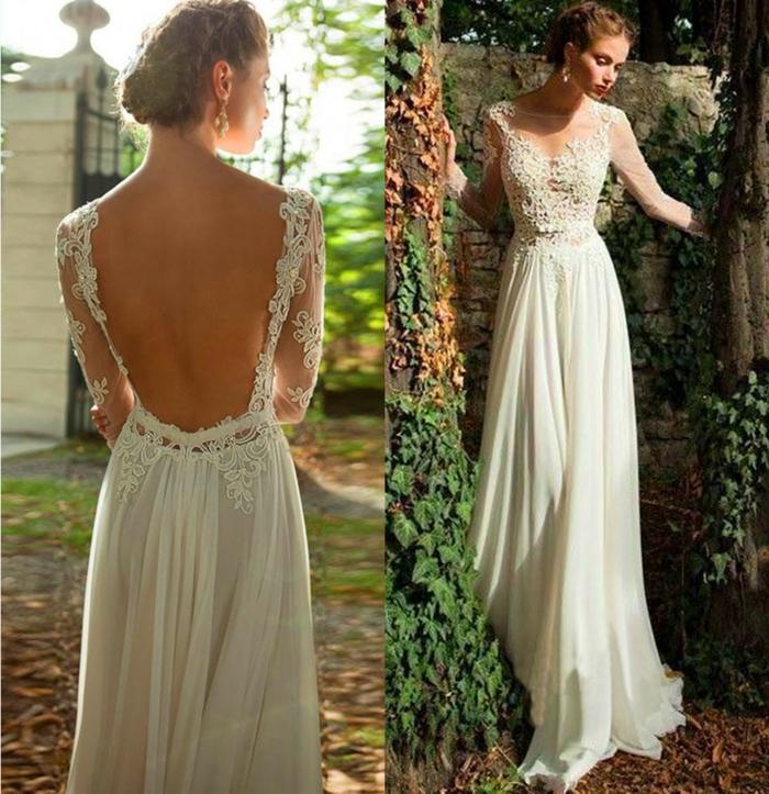 robe de mariage au dos nu, longueur évasée, longues manches, robe longue