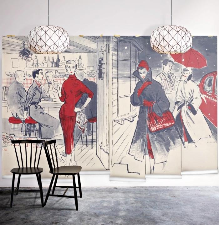 modèle de papier peint noir et blanc avec touches rouges pour une déco murale à design stylé, revêtement mural avec tapisserie art