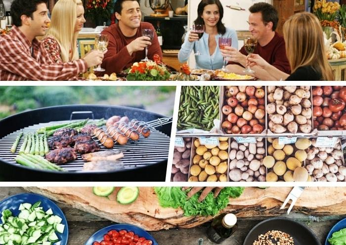 repas du soir léger, faire les courses entre amis, soirée barbecue avec asperges boules de viande et saucisses grillés