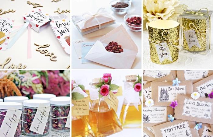 gobelet personnalisé ou bouteille avec étiquette de remerciement pour les invités au mariage, lettres avec fleurs séchées et mots doux