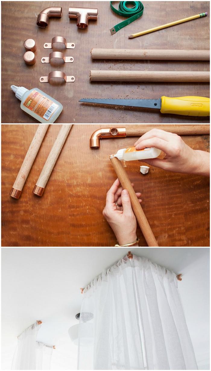 un projet diy facile pour transformer la chambre parentale en nid douillet grâce aux simples voilages, deco chambre parentale romantique et féerique