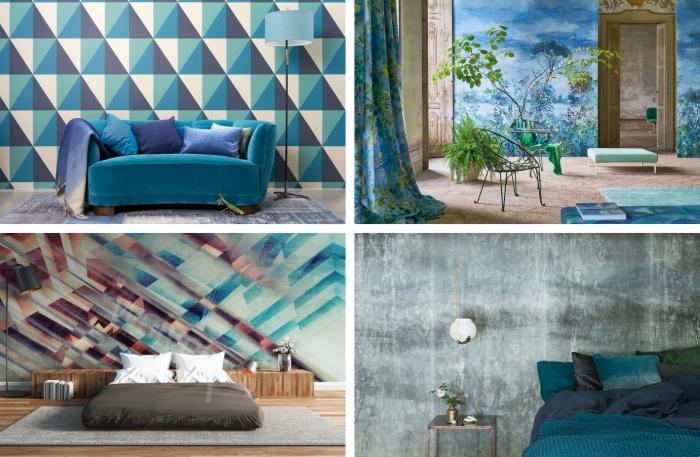 idée pour la déco intérieure avec papier peint graphique de couleur bleue, modèle de canapé bleu couvert de coussins violets