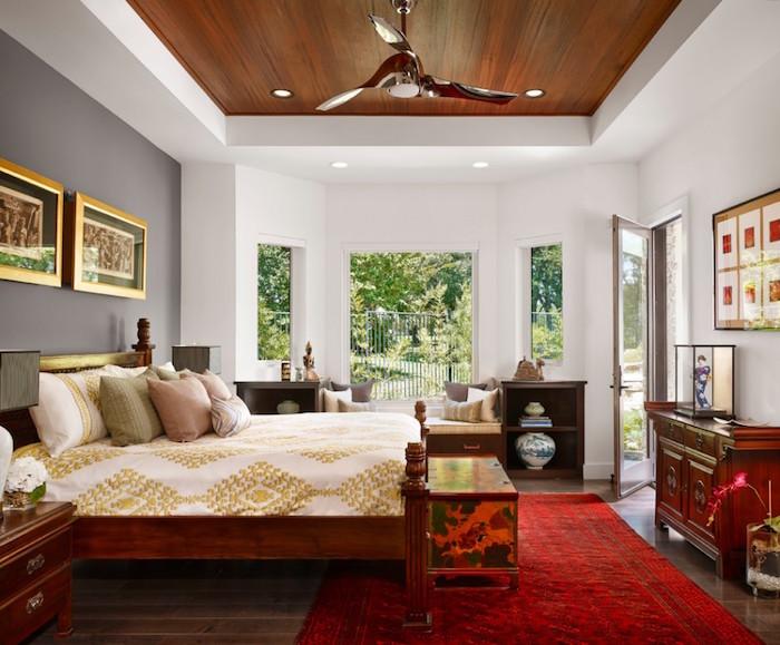 modele de tapis boheme rouge turc, chambre boheme avec décoration asiatique