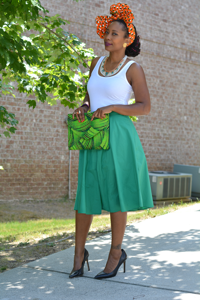La robe africaine chic 2018 robe en pagne africain chic jupe vert mi longue