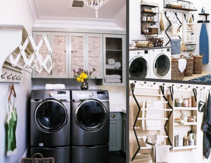 idée comment choisir une étagère machine à laver, déco espace laverie avec meubles et rangements de bois clair