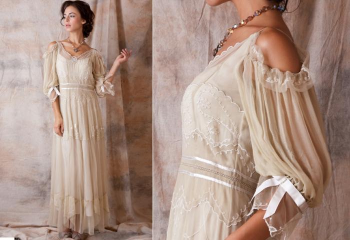 robe de mariage civil chic, manches à épaules tombées, rubans satinés aux manches, coupe fluide