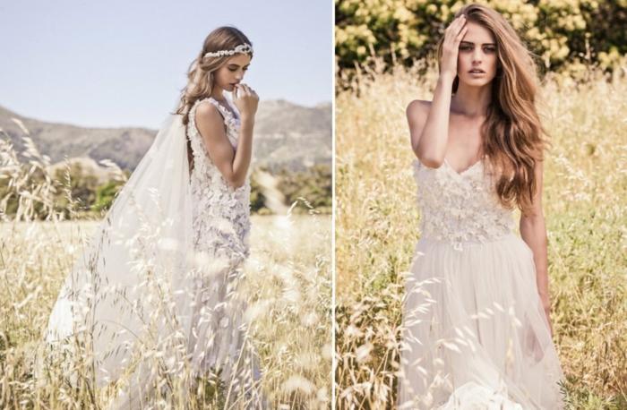robe de mariée originale, long voile, robe de mariée fluide, un champ de blé