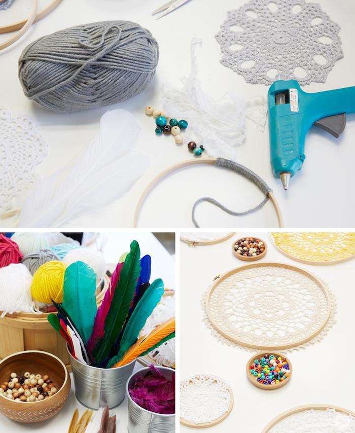 idée comment faire un attrape reve, matériaux nécessaires, napperon, cercle en bois avec de la laine enroulée, plumes colorées, perles en bois