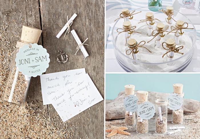 exemple de decoration mariage sur plage, cadeau originale DIY en forme de message dans une bouteille mini