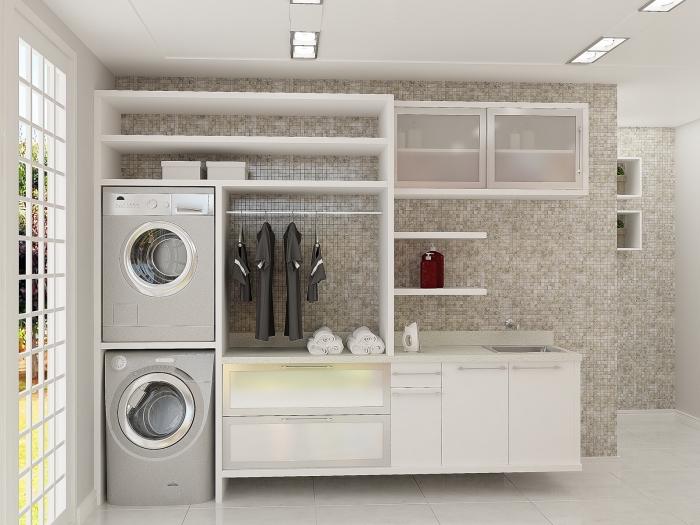placard avec étagères et tiroirs en verre, meubles de buanderie avec section pour machines à laver et tiroirs
