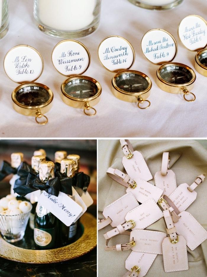 exemple et idée cadeau invité mariage, souvenir original et pratique en forme de compas ou mini bouteille de vin en noir et or