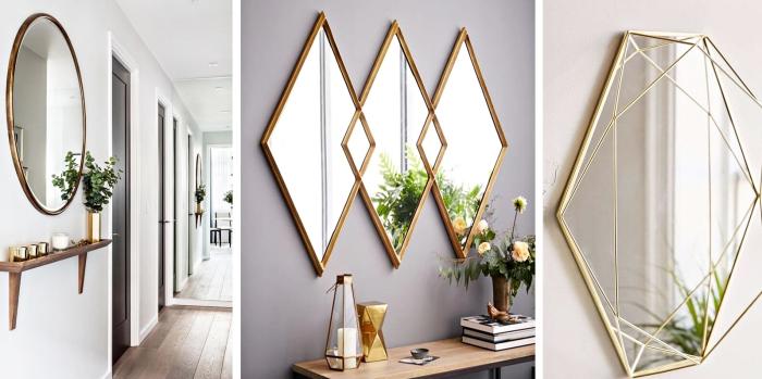 exemples de miroirs à design géométrique moderne en cuivre et or sur murs de nuances blanches taupe et beige