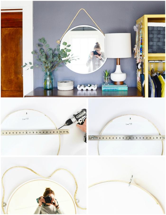 un projet relooking d'un miroir ikea rond pour une deco chambre parentale tendance , idée déco de commode dans la chambre à coucher