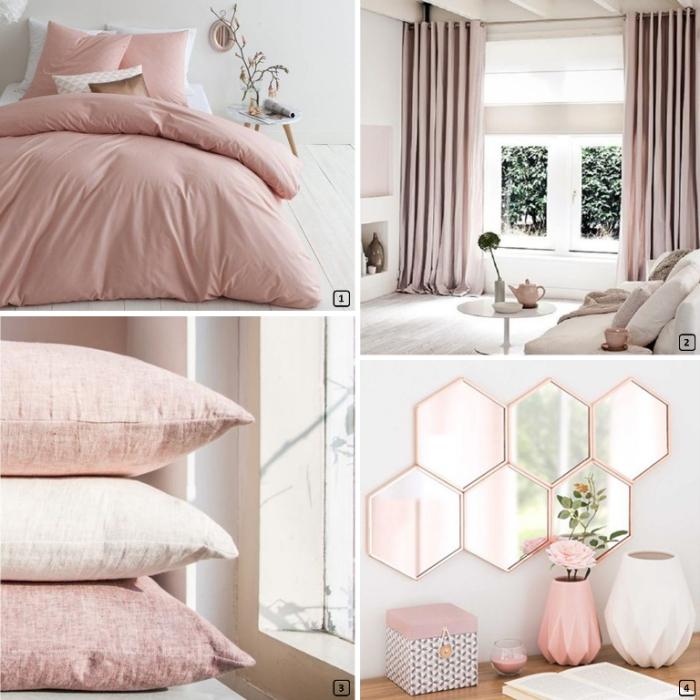 linge de lit de couleur rose pastel pour une déco de chambre rose poudré, modèle de miroir à motifs géométriques et cadre rose gold