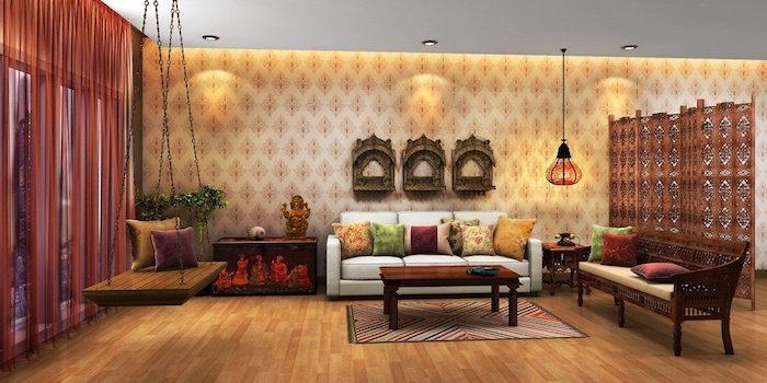 salon à la décoration exotique chic indienne, banc en bois suspendu d'intérieur, exemple déco ethnique d'inde