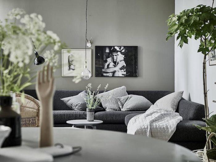 Deco style nordique deco scandinave hygge deco scandinave decoration canapé gris coussins cool idée déco