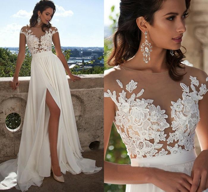 jolie robe fendue pour les mariées chic, dentelle au décolleté, escarpins roses