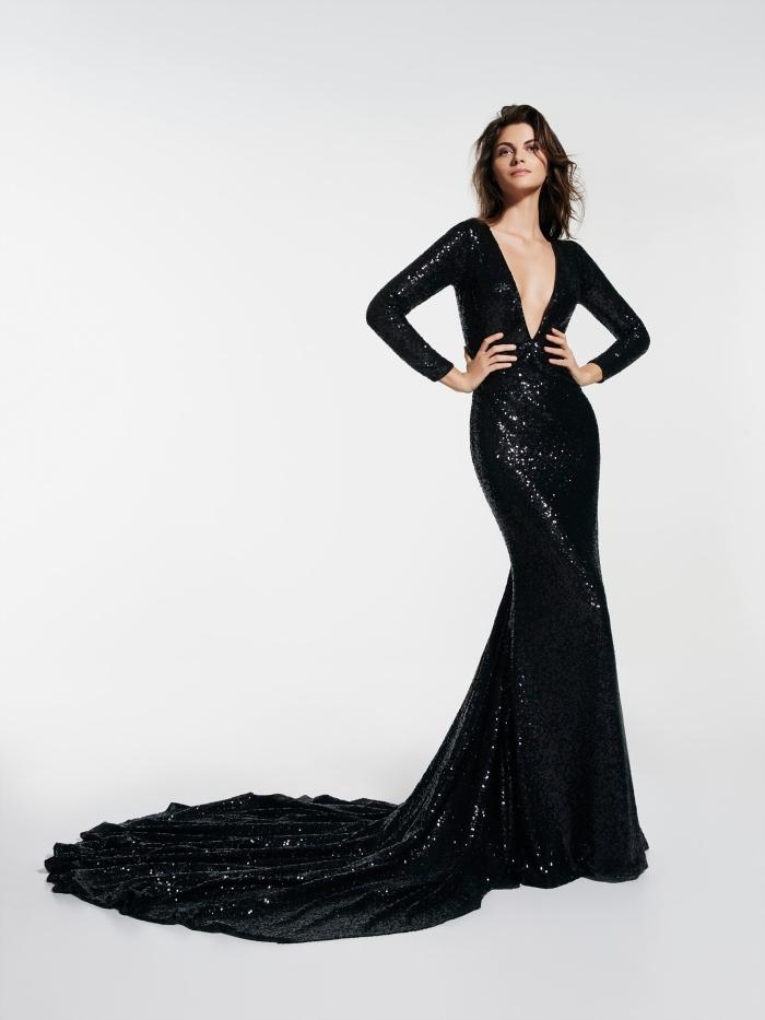 robe de cérémonie femme noire avec décolleté en v aux manches longues à design sirène et glitter noir