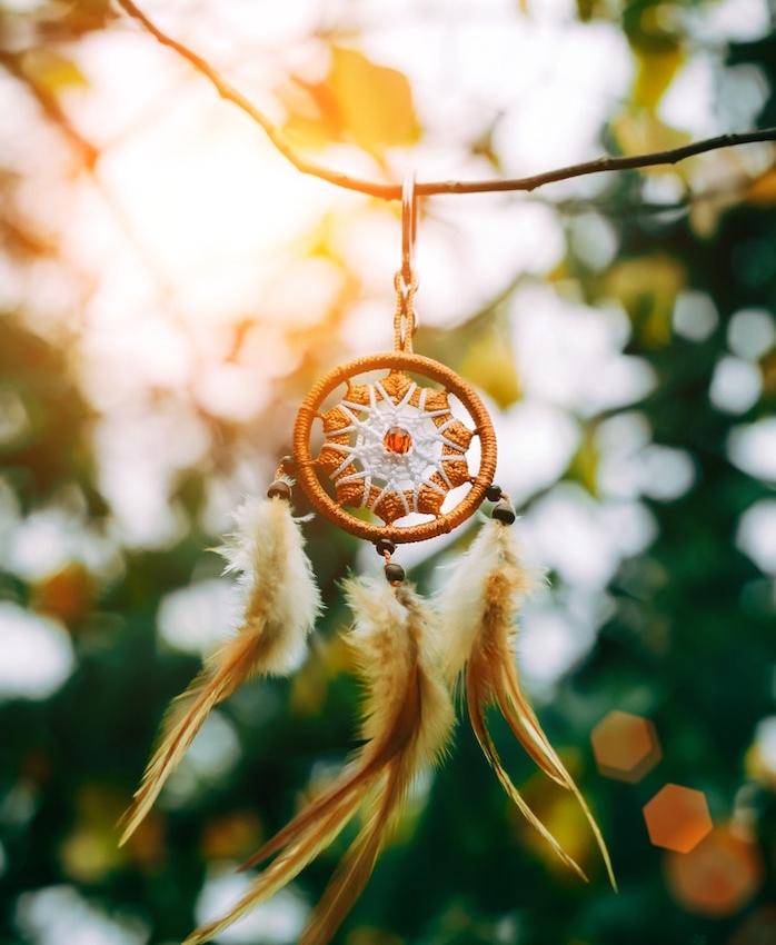 modele attrape reve indien en cerceau et centre décoré de fleur orange et blanc, plumes marron