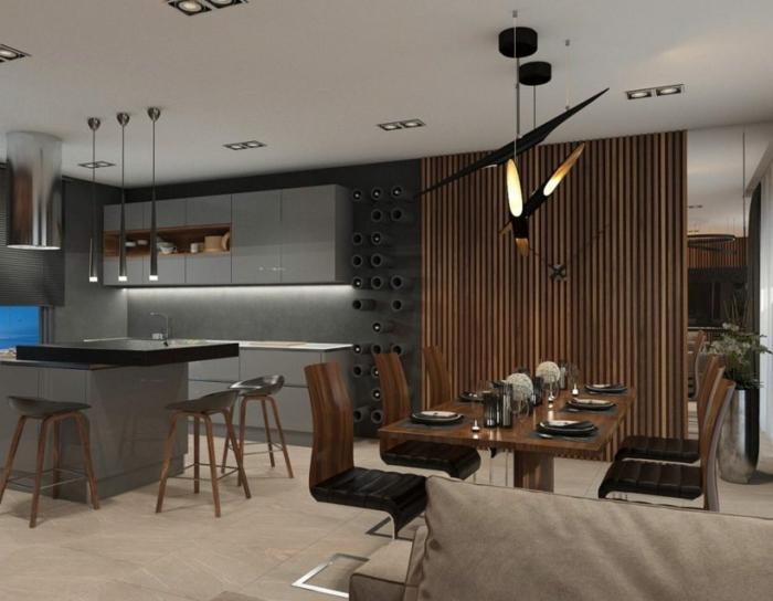 cuisine contemporaine, design bois et gris, table avec des chaises, îlot de cuisine gris avec un top noir