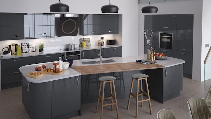 modele cuisine gris laqu anthracite associer les couleurs dans une cuisine design moderne with. Black Bedroom Furniture Sets. Home Design Ideas