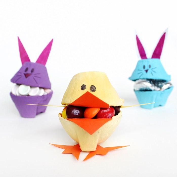 activité manuelle primaire, boîte à bonbons en alvéoles de boîtes à oeufs, motif lapin de paques et poussin, bec, oreilles et pattes en papier