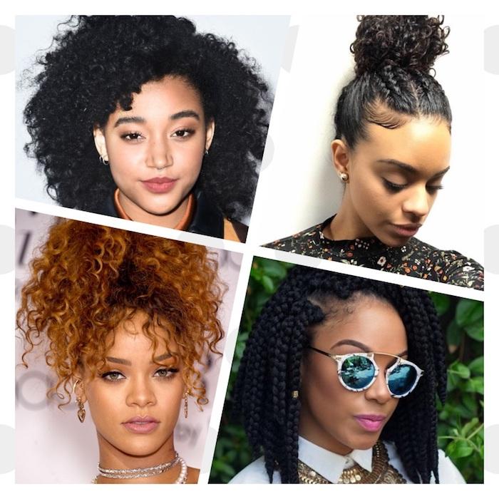 exemples coiffure cheveux c'repus, carré frisé, chignon haut, tresses africaines et queue de cheval frisée