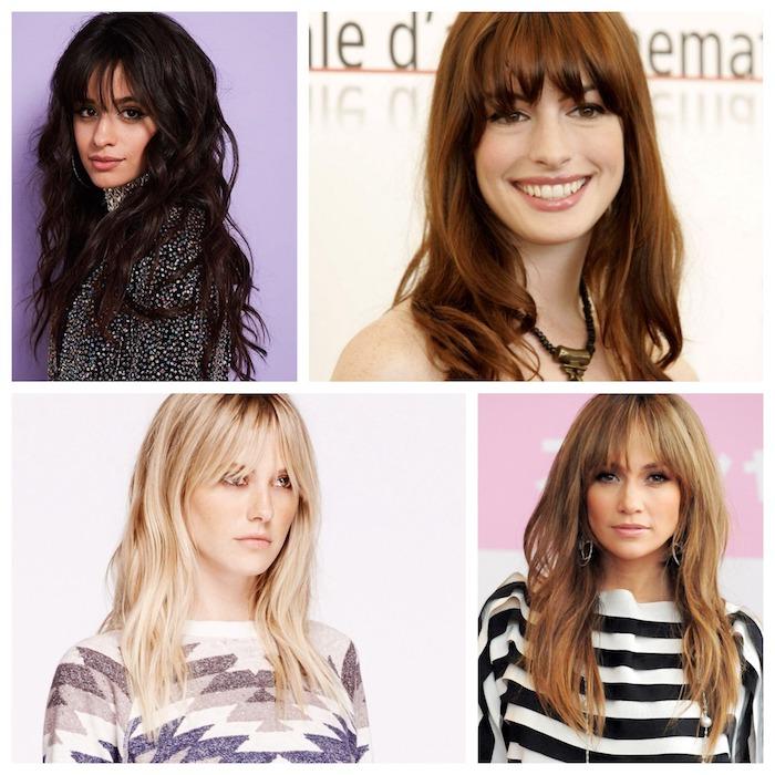 exemples de coupe avec frange longue sur de cheveux longs droits et en dégradé femme