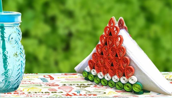 porte serviette melon d'eau super créatif, déco de fêtes et de mariages