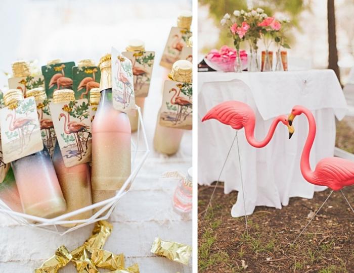modèles de bouteilles personnalisées avec étiquettes à design flamant pour un mariage à thème tropicale