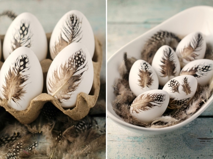 idée originale pour une déco d'oeufs à coquille blanche avec plumes marron collées, arrangement des oeufs dans carton