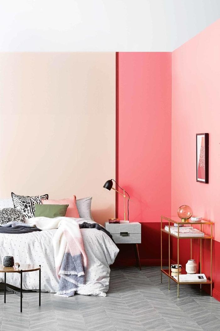 dynamisez l'espace de la chambre a coucher moderne grâce à un mur bicolore en nuances tendance